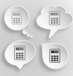 Calculator White flat buttons on gray background vector