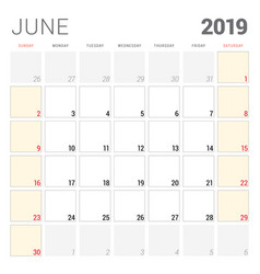 Calendar planner for june 2019 week starts on vector