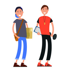 Cartoon courier with box and coach with barbell vector