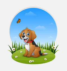 cartoon happy dog sitting on the grass vector image