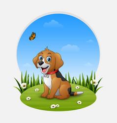 cartoon happy dog sitting on the grass vector image