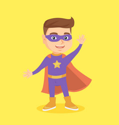 caucasian boy playing in a superhero vector image