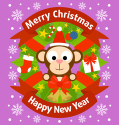 christmas and new year background with monkey vector image