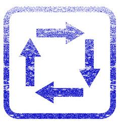 Circulation arrows framed textured icon vector