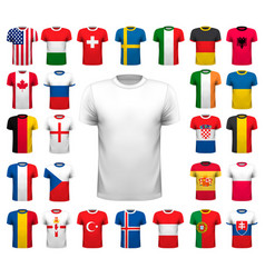 collection various soccer jerseys t-shirt vector image