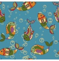 Colorful pattern with fish retro vector