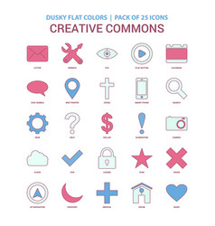 Creative commons icon dusky flat color - vintage vector