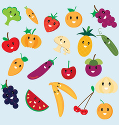 cute fruit and vegetable cartoon vector image