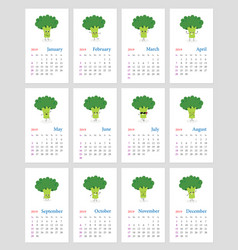 cute monthly broccoli calendar 2019 vector image