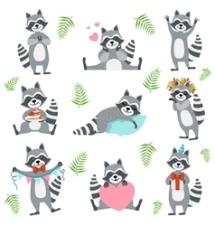 Cute Raccoon Character In Different Situations Set vector image