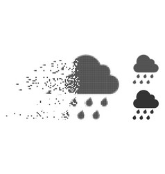 Disintegrating pixel halftone rain cloud icon vector