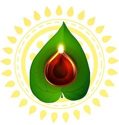 Diwali diya on pan leaf vector