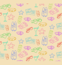 Doodle summer beach seamless pattern vector