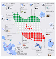 Dot And Flag Map Of Islamic Republic Of Iran vector
