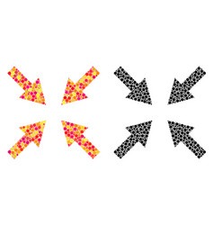 Dotted compress arrows mosaic icons vector
