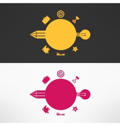 Educational background with pencil and bulb vector