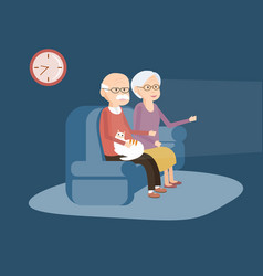 elderly couple sitting on the sofa and watching tv vector image vector image