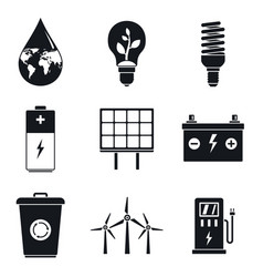 Energy saving day icon set simple style vector