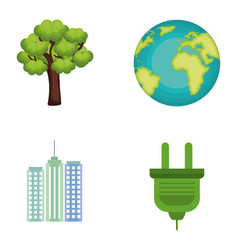 environmental and ecology set icons vector image
