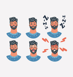 face expressions a man emotions set vector image