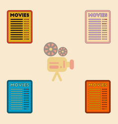 Film list collection in flat vector