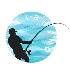 Fisherman with a fishing rod symbol for fishing vector
