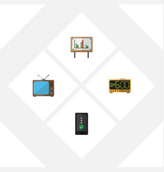 flat icon life set of television cellphone vector image