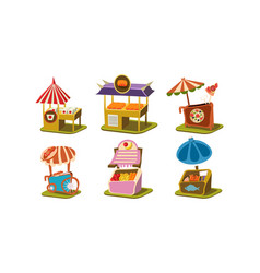Flat set of stalls with fast food pizza vector