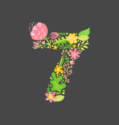 floral summer number 7 seven flower capital vector image