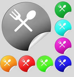 Fork and spoon crosswise Cutlery Eat icon sign Set vector image