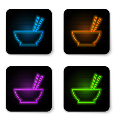 glowing neon bowl with asian food and pair of vector image