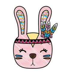 Grated cute rabbit head animal with feathers vector