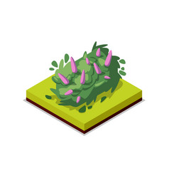 Green bush with flowers isometric 3d icon vector