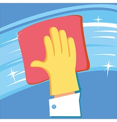 Hand in rubber glove cleaning window vector