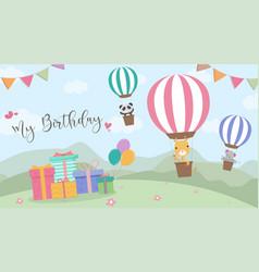 Happy birthday cartoon card with air balloons vector