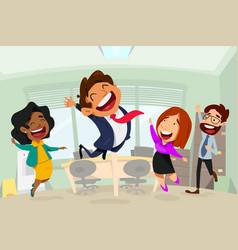 Happy business people in office cartoon vector