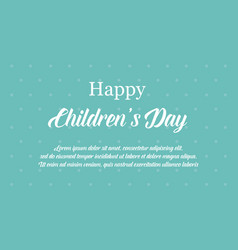 Happy international children day banner style vector
