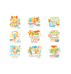 Happy teachers day labels set of logo graphic vector