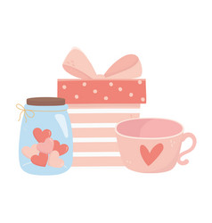 happy valentines day gift box coffee cup and jar vector image