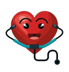 Heart character with stethoscope isolated icon vector