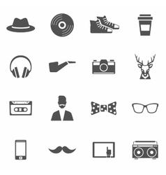 Hipster Black Icons Set vector