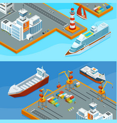 horizontal banners with sea ships in port vector image