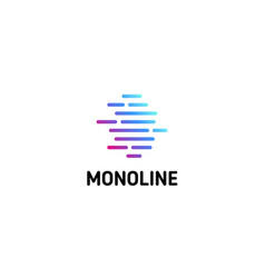 Horizontal dotted strips isolated line art logo vector