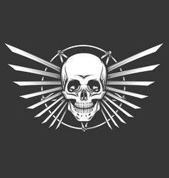 human skull emblem design vector image