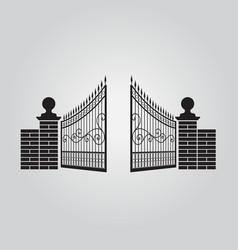 Iron fence and brick fence silhouette isolated vector
