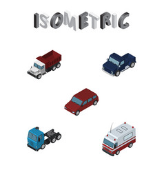 isometric transport set of suv car first-aid and vector image