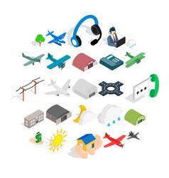 landing icons set isometric style vector image
