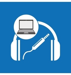 Laptop music technology headphones vector