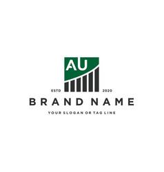 Letter au chart financial logo design vector