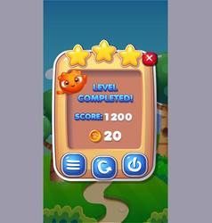 level completed mobile game user interface gui vector image